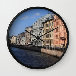 Embankment of the Moika River. Facades of buildings of St. Petersburg. Wall Clock