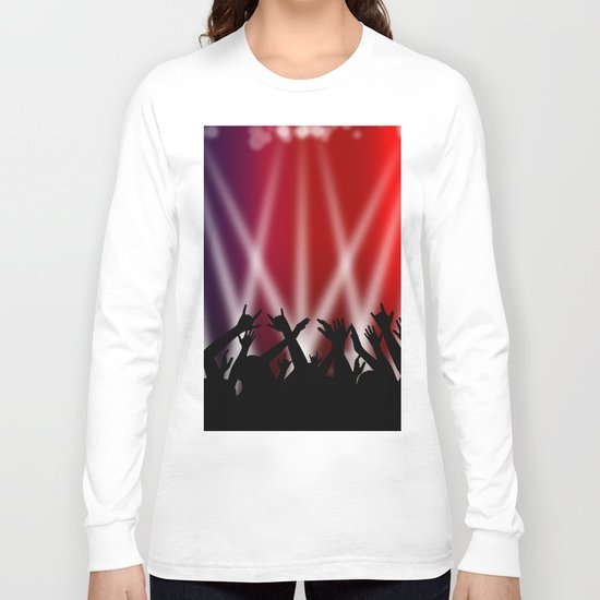 Dancing Crowd With Multi Colour and White Spotlights Long Sleeve T-shirt