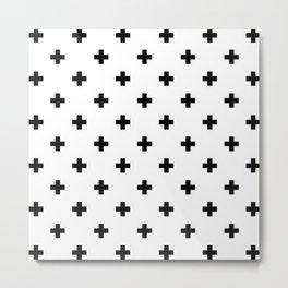 Swiss cross pattern in black Metal Print