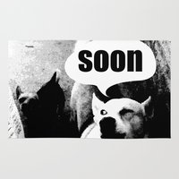 meme Area & Throw Rugs featuring Dog meme: soon by Capadochio