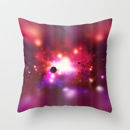 An outer space theme with planets, sky and stars.  Throw Pillow