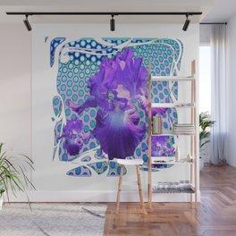 MODERN ART SPRING PURPLE IRIS BLUE ABSTRACT Wall Mural
