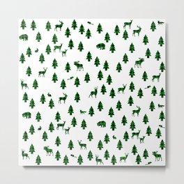 Woodland Pattern: Green Buffalo Plaid Metal Print