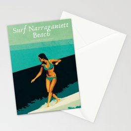 Surf Narragansett Beach, Rhode Island Vintage Surfing Big Swell Poster - New England Surfers Stationery Cards