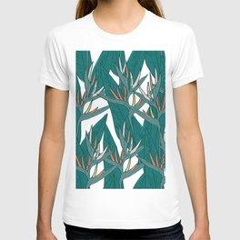 tropical strelitzia flowers leaf sketch, black contour pink coral yellow green. simple ornament T-shirt