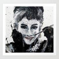 hepburn Art Prints featuring Hepburn by Claire Goodspeed