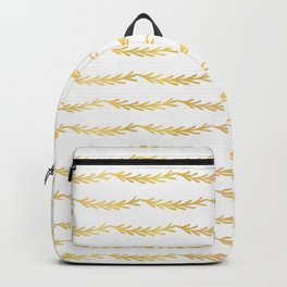 Luxe Gold Christmas Tree Branch Stripes Vector Pattern, Drawn Seamless Backpack