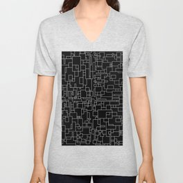 Circuitry - Abstract, geometric, black and white Unisex V-Neck