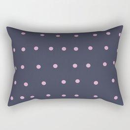 pink dots on navy blue Rectangular Pillow