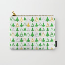Cute Christmas Tree Pattern - Green Gold and Silver Carry-All Pouch