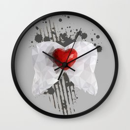 Abstract heart with wings Wall Clock