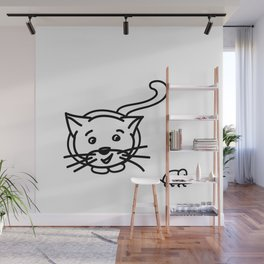 Funny Little Cat And Mouse Wall Mural