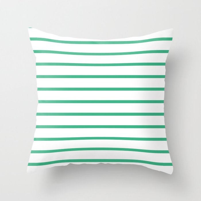 Horizontal Lines (Mint/White) Throw Pillow
