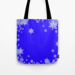 LACEY WHITE SNOWFLAKES HOLIDAY BLUE ART Tote Bag