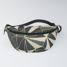 New Art Deco Geometric Pattern - Emerald green and Gold Fanny Pack