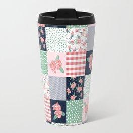 Cheater Quilt basic trendy floral pattern navy pink modern nursery florals cheater quilts Travel Mug