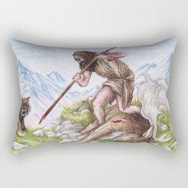 Early Man vs Extinction Rectangular Pillow