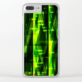 Luxurious green stripes and metallic triangles of blades of grass create abstraction and glow. Clear iPhone Case