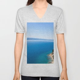 Out to Sea | Open Water Mediterranean Coast Expanse Art Print Tapestry Unisex V-Neck