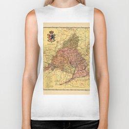 Map Of Madrid 1900 Biker Tank