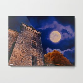 Full Moon and Castle Metal Print