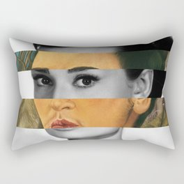 Frida Kahlo's Self Portrait with Monkey & Audrey Hepburn Rectangular Pillow