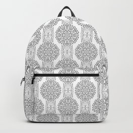 Gray white Damask ornament . Backpack