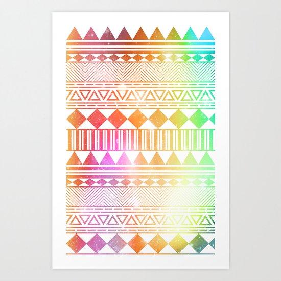 rainbow galaxy navajo tribal pattern Art Print