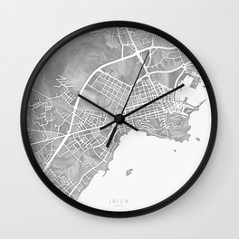 Grayscale watercolor map of Ibiza, Spain Wall Clock