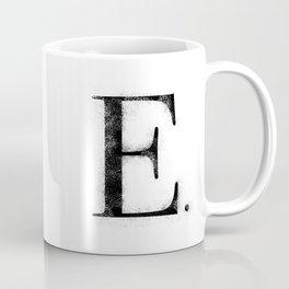 E. - Distressed Initial Coffee Mug