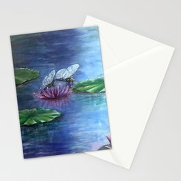 Dragonflies and water lilies Stationery Cards