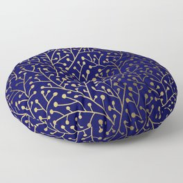 Gold Berry Branches on Navy Floor Pillow