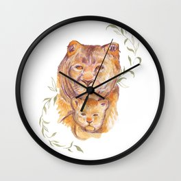 Baby Lion with Mommy Lion- Watercolor Painting Wall Clock