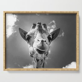 Cool Giraffe Black and White Serving Tray