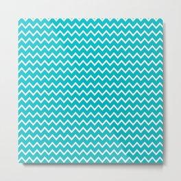 Teal Turquoise Blue Chevron Zigzag Pattern Metal Print