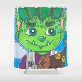 Young Goblin with stuffed dog Shower Curtain