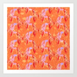 Colorful Painted Butterlies in Coral Orange Pink Color  #decor #society6 #buyart Art Print