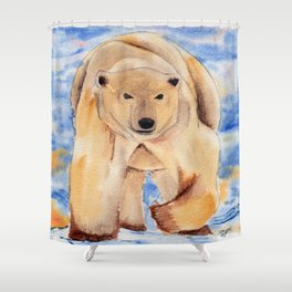 ours blanc Shower Curtain