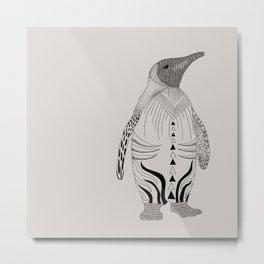 pinguin grey Metal Print