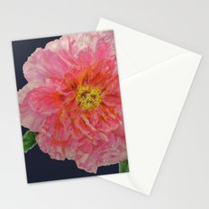 Pink Peony Flower Drawing on Blue Background Stationery Cards