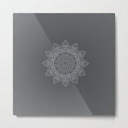 Mandala grey Metal Print