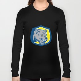 Angry Wolf Wild Dog Head Shield Retro Long Sleeve T-shirt