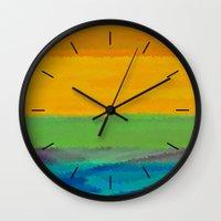 fallout Wall Clocks featuring Fallout Sunrise by Fringeman
