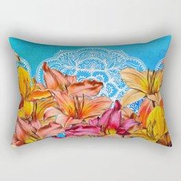 Orange Lilies & White Mandala on Blue Rectangular Pillow