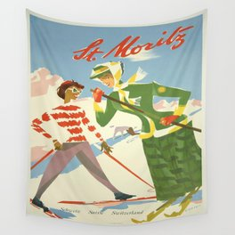 Vintage poster - St. Moritz Wall Tapestry