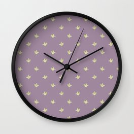 Mauve Vintage Lily-of-the-Valley Mini-Print Pattern Wall Clock