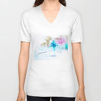 preppy V-neck T-shirts featuring Preppy Beach by EPART