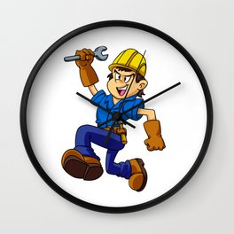 Running man with a wrench Wall Clock