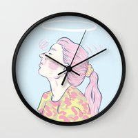 madonna Wall Clocks featuring Bubblegum Madonna  by Adam Glab