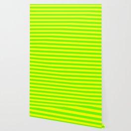 Super Bright Neon Yellow and Green Horizontal Beach Hut Stripes Wallpaper